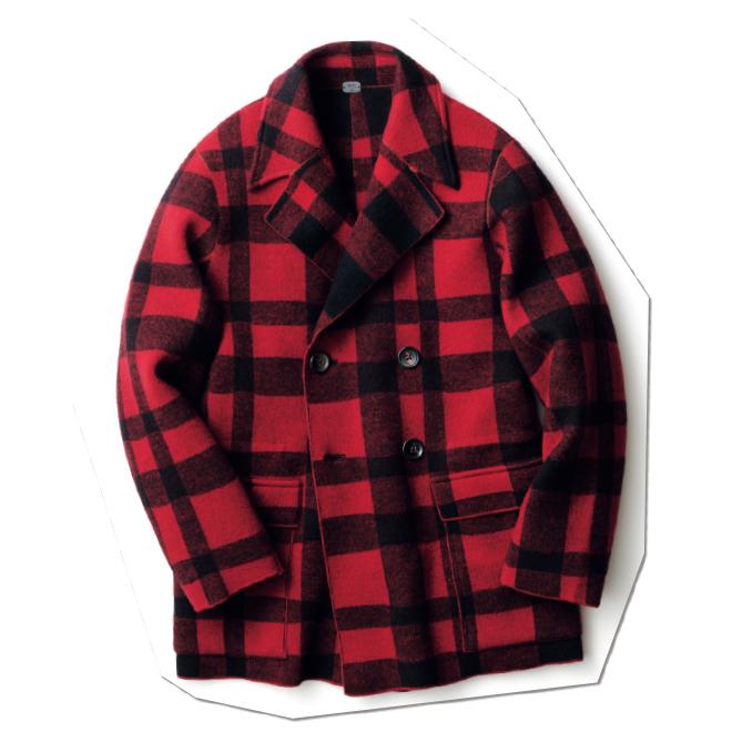 ファッション業界人がこぞって取り入れている、バッファローチェック柄のピーコート。こちらはずっしりと目の詰まったニットを採用しており、圧倒的な上質感で差がつく一着。