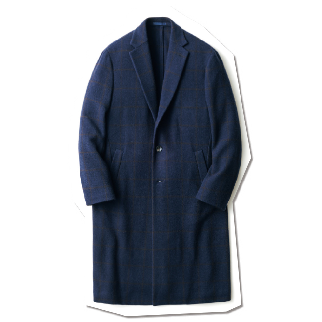 ふわっと軽い生地と副資材を省いたアンコン仕立てが相まって、セーターのような着心地を堪能できる「バタフライ」モデル。ネイビー地にブラウンを効かせたチェック柄は、スーツからカジュアルまで着こなしも自在。