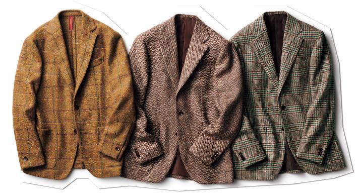右/しっとりとした肌ざわりのシルク混ウールやグリーンのオーバーペーンによって、洗練されたムードを感じるツイードジャケット。中/ネップを織り交ぜた味わい深いヘリンボーン柄のツイードを採用。本格派のツイードもやや軽めのウェイトを選ぶのが当世流です。左/イタリアらしい色鮮やかなツイードを使用。仕立ても軽く、カーディガンのように羽織れます。