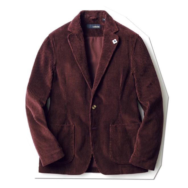 深みのあるボルドーカラーのコーデュロイと軽やかな仕立てを融合させた、イタリア的な色気が漂うジャケット。袖裏もない、まるでシャツジャケットのような一着です。