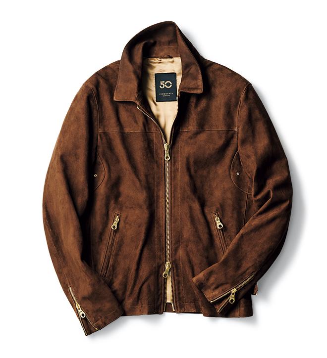 ショートブルゾンにおいて今季、注目なのがレザー素材とライダースタイプのデザイン。そんなふたつの要素に洗練された雰囲気をプラスした旬の一着。同社の代表素材である軽量かつ柔軟なゴートスエードを採用。ジップがゴールドなため、ハードになりすぎず品のある佇まいはキープできます。さながらシャツ感覚で軽快に羽織ることができるので、春先まで活躍してくれるはず。